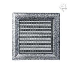 Вентиляционная решетка 22х22 Оскар черная/хром с жалюзи