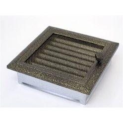 Вентиляционная решетка 17х17 Оскар черная/латунь с жалюзи