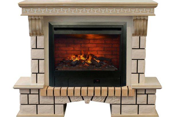 Электрокамин Real-Flame Stone New 26 WT с очагом 3D Helios