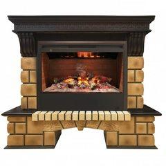 Электрокамин Real-Flame Stone Brick 26 AO с очагом 3D Helios 26