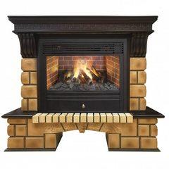 Электрокамин Real-Flame Stone Brick 26 AO с очагом 3D Novara
