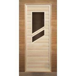 Дверь липа с 2-мя косыми стеклами (коробка осина) 1900х700