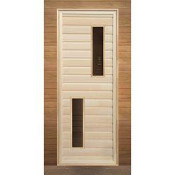 Дверь липа с 2-мя стеклами (коробка осина) 1900х700