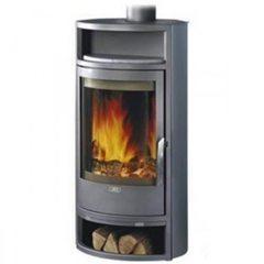 Печь-камин Polar 10 Аква с теплообменником, серая сталь