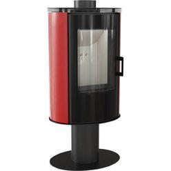 Металлическая печь Koza/AB/S/N/O/GLASS kafel czerwony