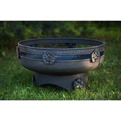 Кованая костровая чаша для огня Очаг-60/3 с функцией садового мангала