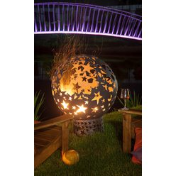 Стальная сфера для огня Звёзды с уличным мангалом