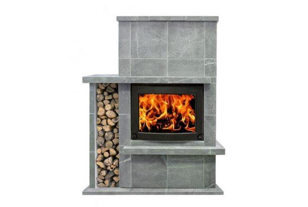 Печь-камин Теплый камень fs 8 (плита основания и вертикальная дровница)