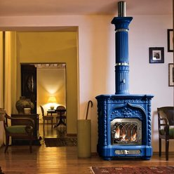Изразцовая печь Giglio nikel, blue (Sergio Leoni)