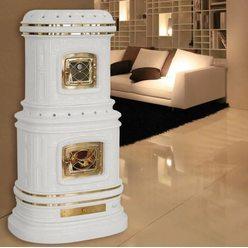 Керамическая дровяная печь VIENNESE accumulo, white matt craquele (Sergio Leoni)