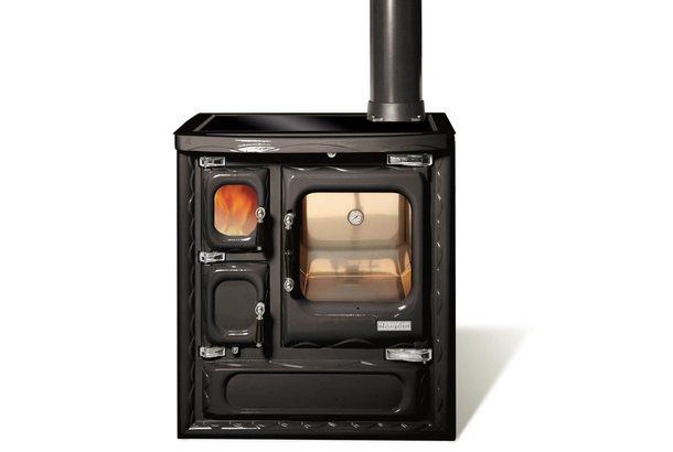 Печь-плита DEVA II 75, стеклокер., хром, черная (Hergom)